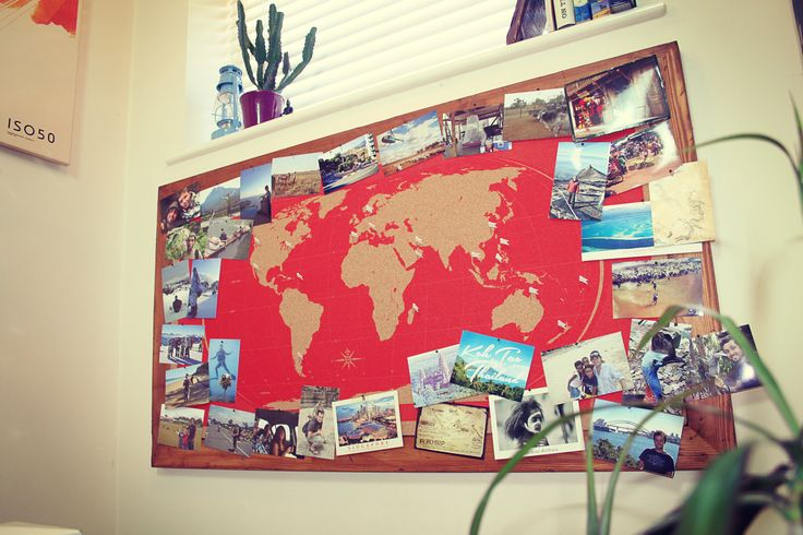 World Map Cork Pinboard. Perfect to pin all the places you've been, the memories you had, the photos you took, to relive the wild adventures you had, and amazing moments you want back.  Meticulously designed & hand printed. Framed with rustic timber. 135cm x 75cm. Just £195 from MobyMaps – www.mobymaps.com