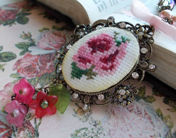 Victorian Rose NECKLACE Cross Stitch Charm Necklace with Handmade Card Scripture Inspired Gift on Etsy, $35.00