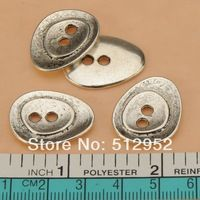 50pcs new diy fashion findings two holes metal silver buttons beads for jewelry making