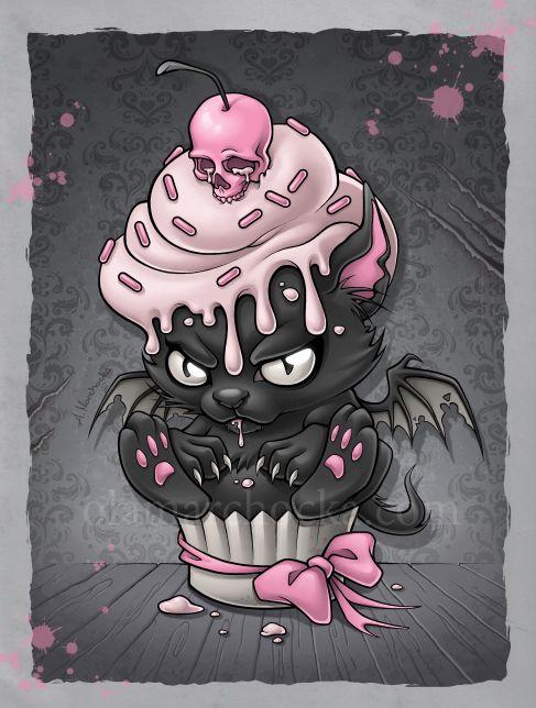 Devil Kitty Cupcake by ~aleksandracupcake on deviantART