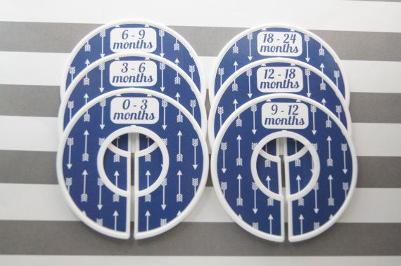 Baby Closet Dividers Navy White Arrows Tribal by SeeMeGrowUp