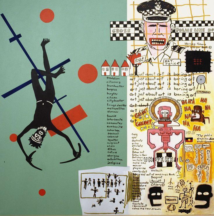 Gordon Bennett, Notes to Basquiat. in the future art will not be boring, 1999, Wereldmuseum Rotterdam Musée d'Aquitaine Bordeaux