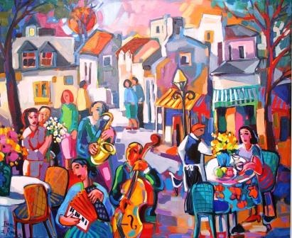 Street Musician 1100x900 Oil painting Isabel le  Roux