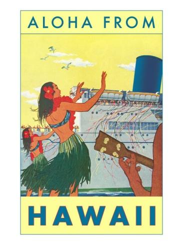Aloha from Hawaii, Hawaiian Girls Greeting Cruise Ship Premium Poster