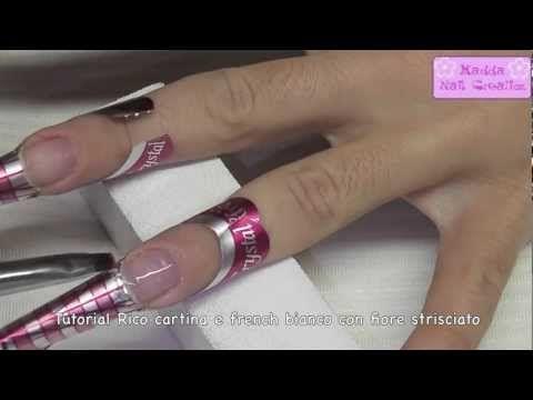 Tutorial - Ricostruzione con cartina/nail forum Crystal Nails e Nail art french con fiore strisciato