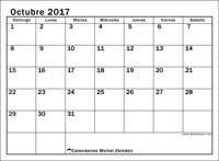 Calendario octubre 2017, Tiberius