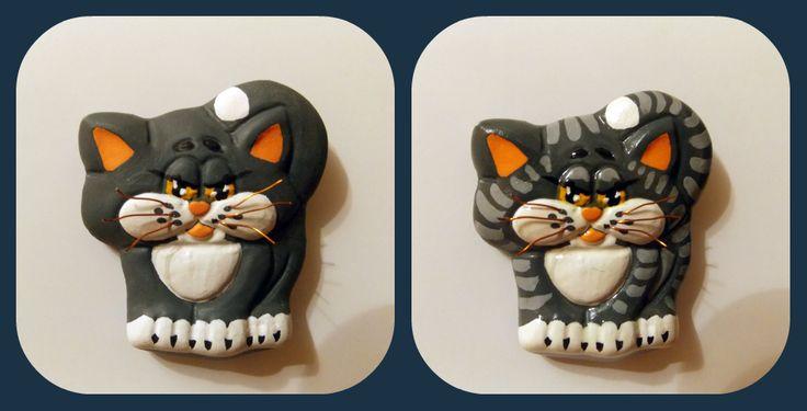 Котик на магните. Барельеф. Полимерная глина, акриловые краски, лак
