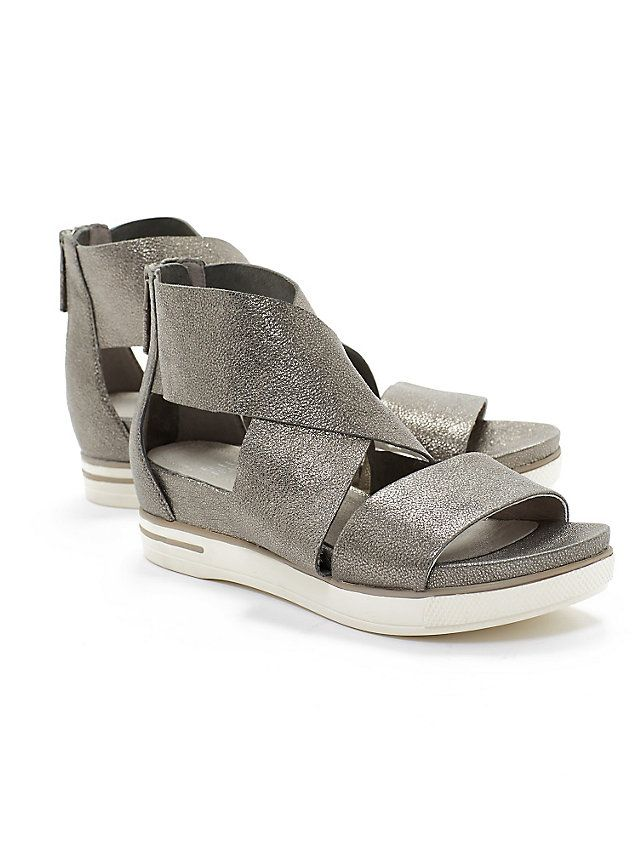 Sport Wedge Sandal in Tumbled Leather