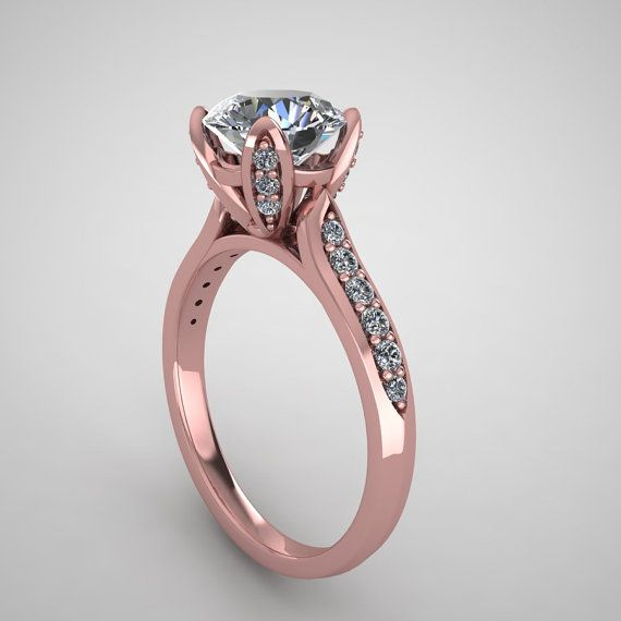 Rose gold engagement ring with 7.5mm moissanite center and diamonds on shank and crown,style 113RGDM