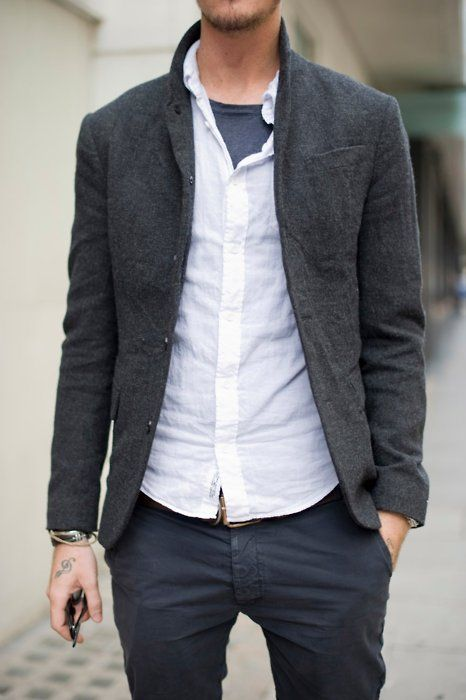 Consider pairing a charcoal wool sportcoat with charcoal chinos to achieve a dressy but not too dressy look.  Shop this look for $120:  http://lookastic.com/men/looks/charcoal-crew-neck-t-shirt-white-longsleeve-shirt-charcoal-blazer-charcoal-chinos/6275  — Charcoal Crew-neck T-shirt  — White Long Sleeve Shirt  — Charcoal Wool Blazer  — Charcoal Chinos