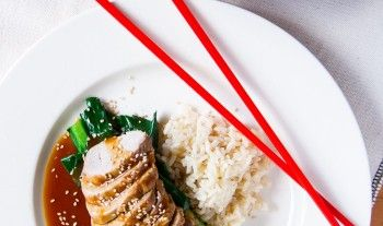 Sticky Hoisin and Ginger Pork with Rice and Gai Larn
