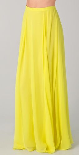 flat front yellow maxi skirt