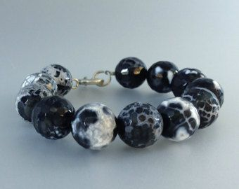 Check out Bracelet with black and white Obsidian and Sterling silver - gift idea  on gemorydesign