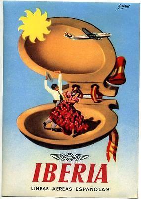 Lineas Aereas Espanolas ~IBERIA~ Airline Luggage Label, 1955