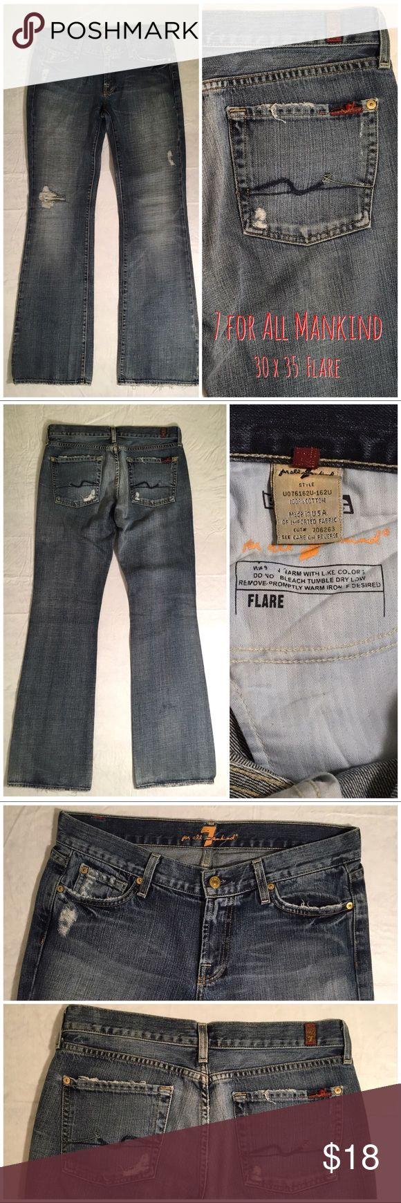 """7 for All Mankind Destroyed Flare Jeans 7 for All Mankind Destroyed Flare Jeans.  Size 30.  Good condition – some wear on pant cuffs but otherwise no issues.  Inseam: 35"""".  Front rise: 8"""".  Pant cuff opening: 10"""" across.  Button-fly, 5-pocket design.  100% cotton.  Machine wash warm, tumble dry low.      Love it but not the price - I'm open to (reasonable) offers! 7 For All Mankind Jeans Flare & Wide Leg"""