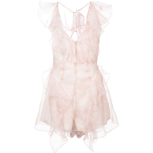 Alice Mccall frill-trim playsuit ($450) ❤ liked on Polyvore featuring jumpsuits, rompers, pink, alice mccall romper, pink romper, pink ruffle romper, flounce romper and ruffled rompers