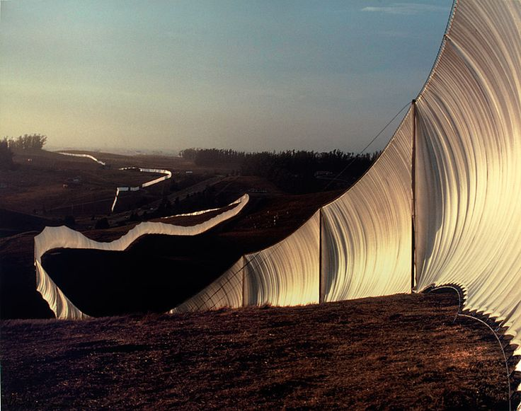 Christo and Jeanne-Claude. Running Fence, Sonoma and Marin Counties, California 1972-76; © Christo; Color photograph by Jeanne-Claude, 1976;