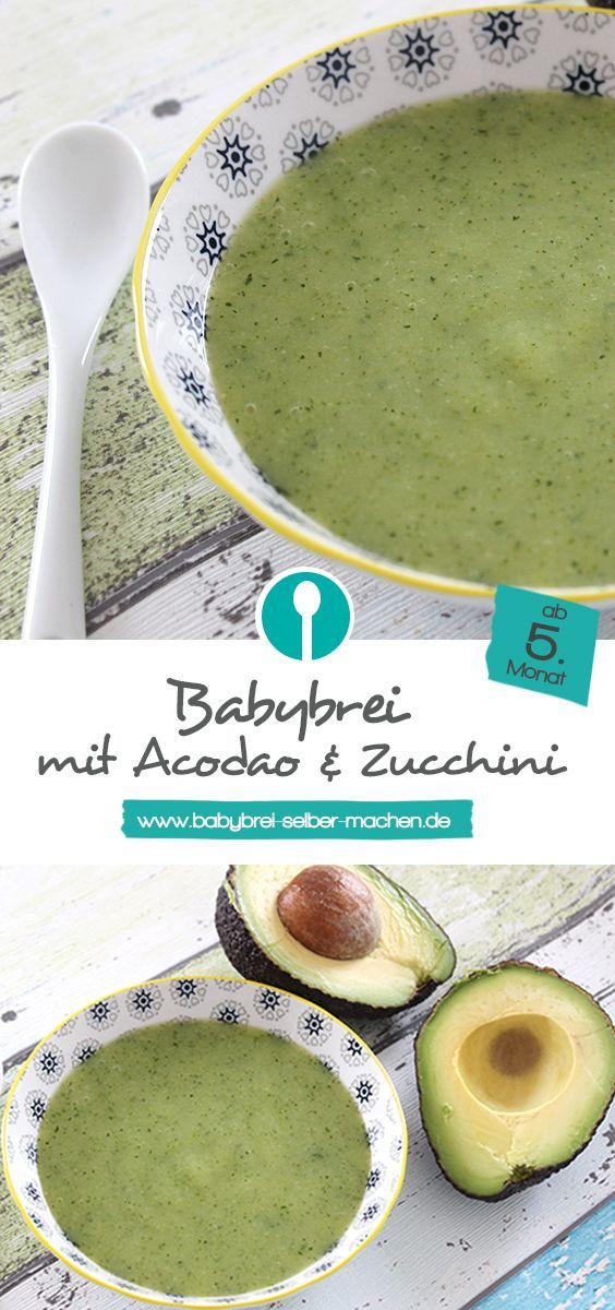 Der Zucchini-Avocado-Brei für Babys ist vegetarisch und liefert durch die Avocado wertvolle ungesättigte Fettsäuren. Mittagsbrei für Babys ab dem 5. Monat.