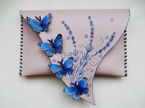 Blue Butterflies bag Morpho Butterflies clutch by spiculdegrau
