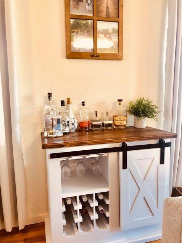 Furniture Farmhouse Bar Cabinet In 2020 Bar Cabinet Furniture Industrial Style Coffee Table Furniture Design
