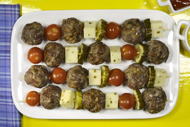 At a high-end restaurant, they'd call these deconstructed cheeseburgers. We just call them Cheeseburger Meatball Kabobs. Dee-licious!