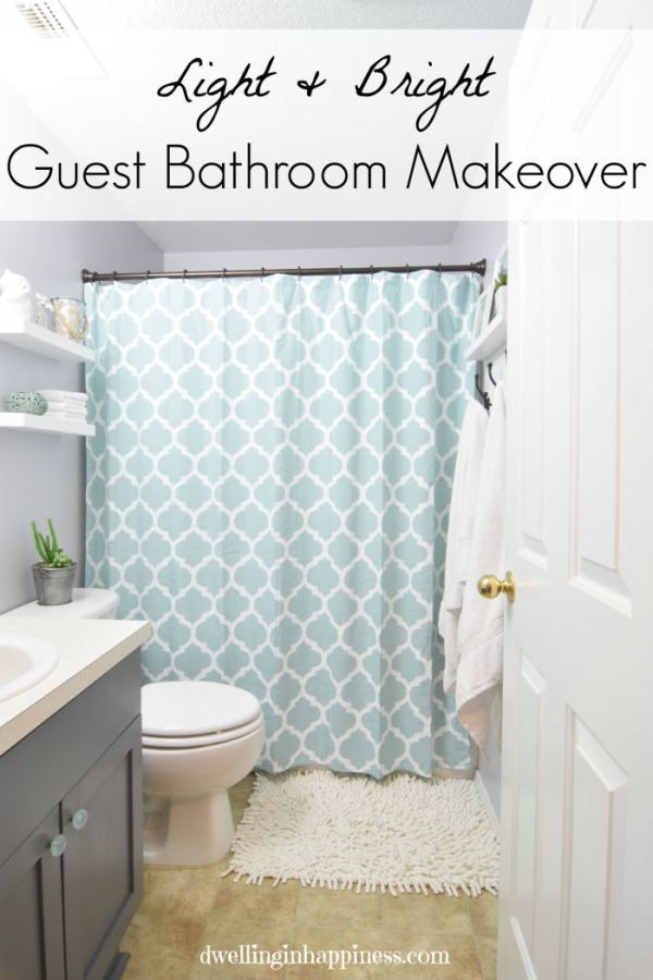 Light & Bright Guest Bathroom Makeover. Such an incredible transformation of a small bathroom space!