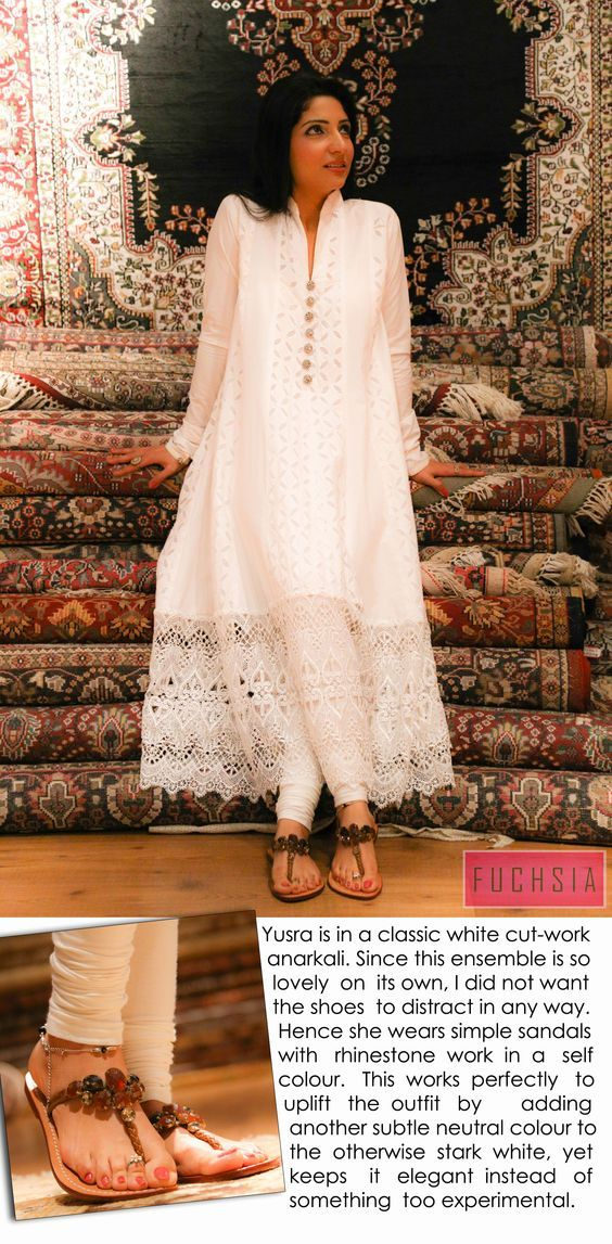 white lacy long kurta: