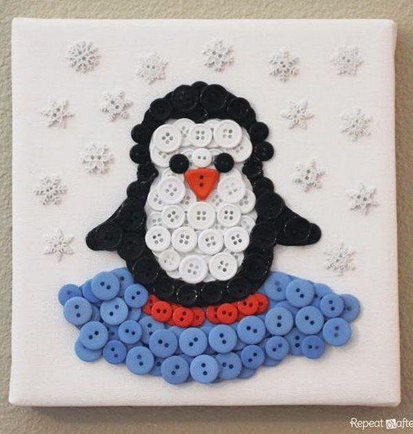 Penguin Button Art,