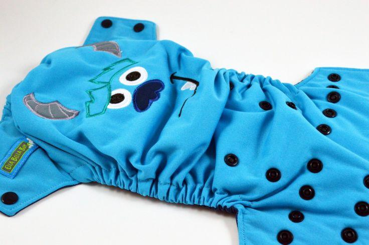 Aqua School MonsterEmbroidered, One Size Pocket Diaper – Ella Bella Bum