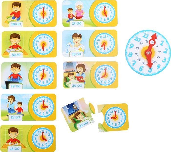 Con questo bellissimo gioco didattico i bambini imparano le funzioni dell'orologio tramite i pezzi del puzzle e le due lancette.