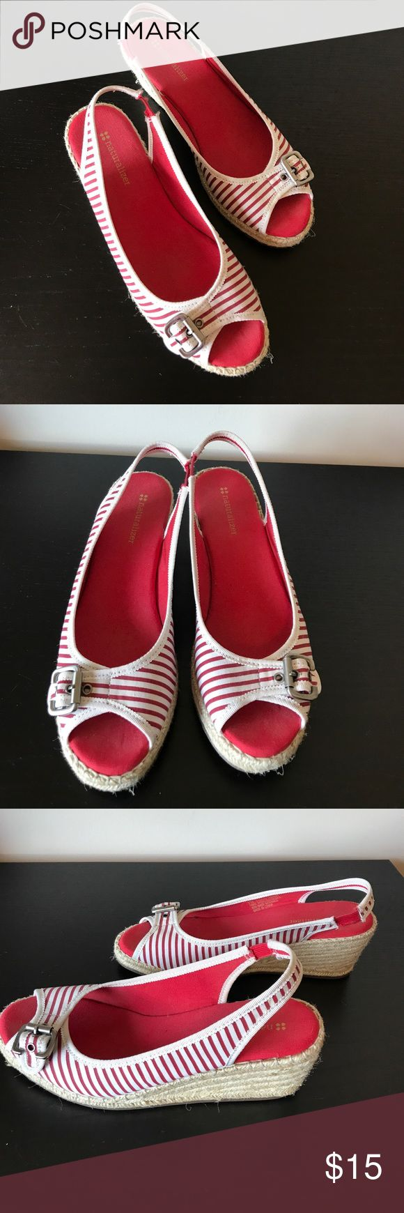 Naturalizer Red & White Espadrilles Wedges Naturalizer Red & White Espadrilles Wedges. 🔹Elastic on sling backs shows a little wear bit still in good shape and stretchy. See pics  🔹Buckles are adjustable ✅Offers Welcome w/Offer Button 🚫Trade 🚫PP 💰30%OffBundle 📦Ships1Day. Naturalizer Shoes Espadrilles