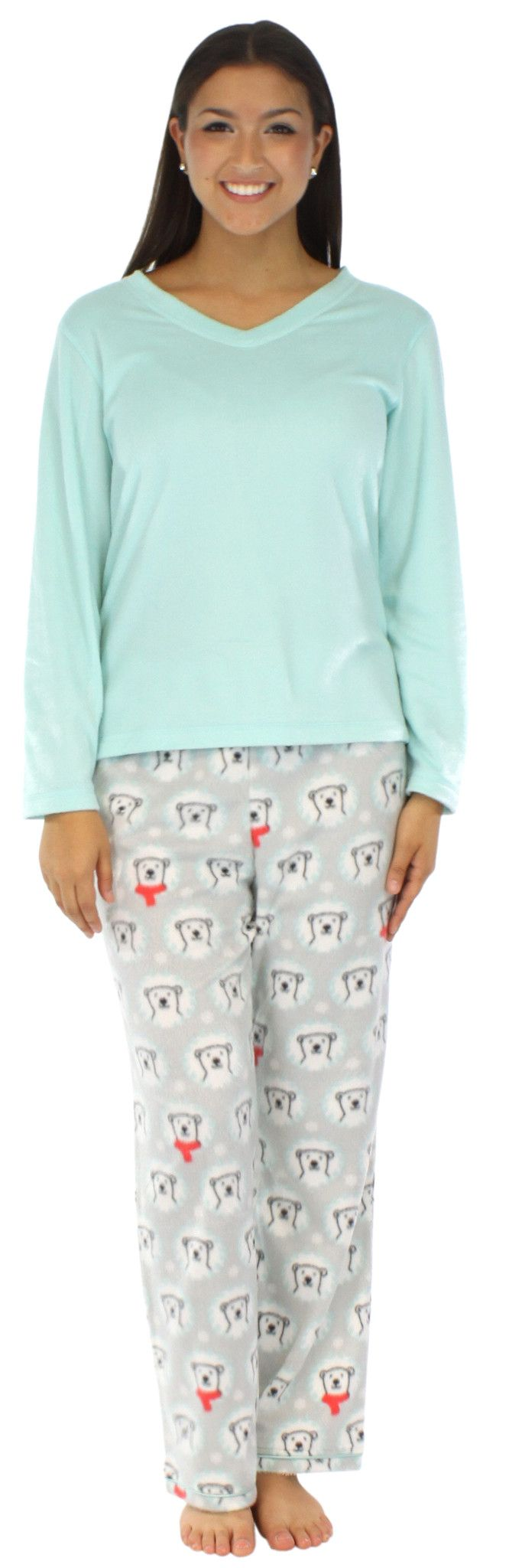 Frankie & Johnny long hair fleece pajama sets have a minky feel and are super soft and comfortable with just enough stretch that you will want to wear them all day long - Fleece - Coordinating solid l