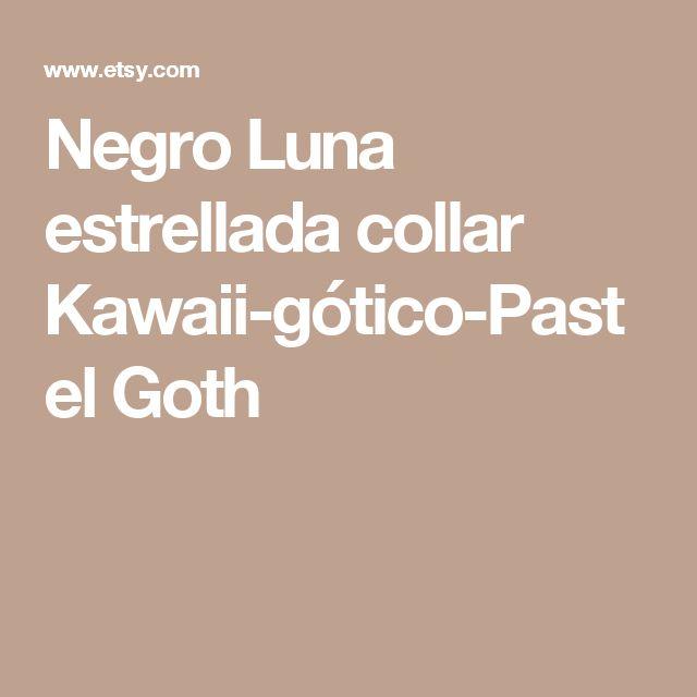 Negro Luna estrellada collar Kawaii-gótico-Pastel Goth