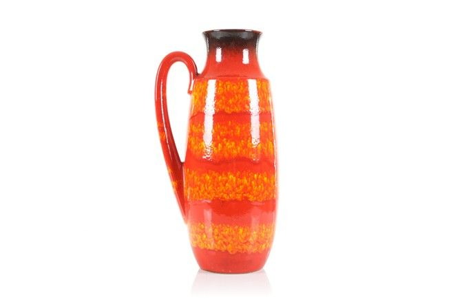 Scheurich Red/Orange Floor Vase - Mr. Bigglesworthy Designer Vintage Furniture Gallery