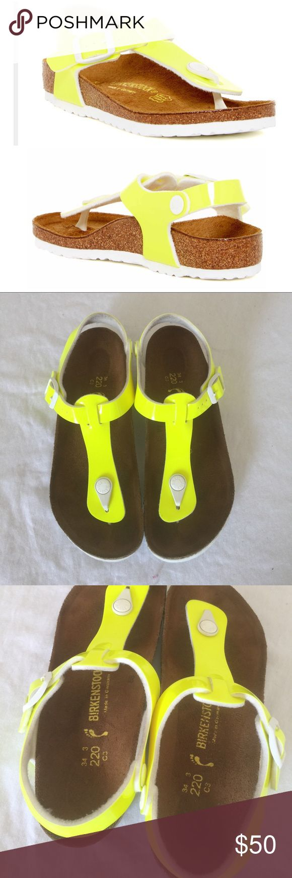 Birkenstock, kids, kairo, size 3, neon Omg, mini birkenstocks.. Introducing the Kairo, in neon, patent, yellow, size 3.no trades. Worn once, amazing preowned condition. A brand new sandal for little girls, this style is modeled after the adult version of the Kairo. It's a great alternative to the traditional flip-flop, while remaining stylish and versatile. Upper Material: Patent BirkoFlor Sole Material: Extra thin EVA  Footbed: Cork and EVA  Arch Support: Maximum Birkenstock Shoes Sandals…