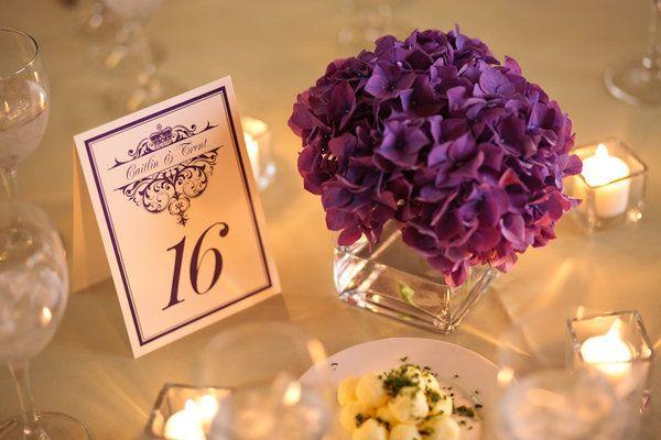 Simple purple hydrangea centerpiece.