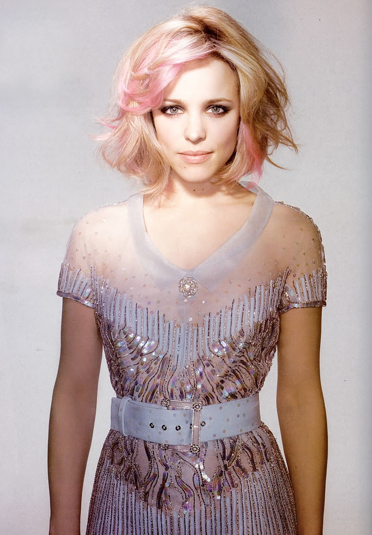 Rachel McAdams- I had my hair like this one year in college with purple instead of pink...I'm debating doing it again!