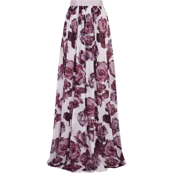Giambattista Valli Floral-print silk-chiffon maxi skirt (116025 RSD) ❤ liked on Polyvore featuring skirts, lilac, purple maxi skirt, ankle length skirt, floor length skirt, long maxi skirts and purple floral skirt