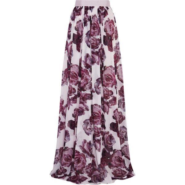 Giambattista Valli Floral-print silk-chiffon maxi skirt (116025 RSD) ❤ liked on Polyvore featuring skirts, lilac, purple maxi skirt, ankle length skirt, floor length skirt, long maxi skirts and purple floral skirt