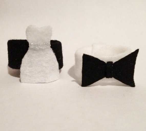 Bride and Groom Wedding Napkin Rings Black and White by ReThinkMe, $5.00