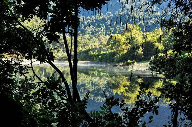 Reflets, région des lacs au Chili
