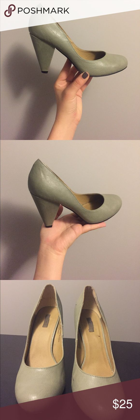 Leather mint pumps Leather mint pumps by kimchi blue, small black marks on outside right shoe Shoes Heels