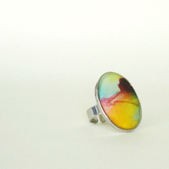 Resin ring, contemporary ring, abstract ring, watercolor ring, multicolor ring, adjustable ring