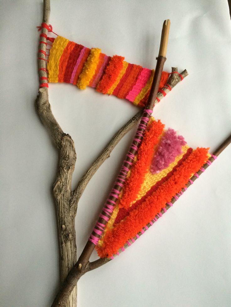 Branch weaving. Twig weaving. Stick weaving. Loom.