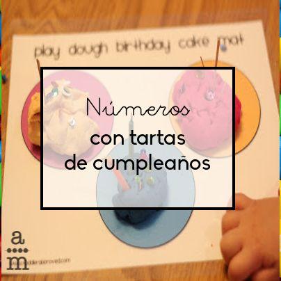 Original manera de trabajar la asociación de la grafía de los números y la cantidad con un tema muy familiar para los niños: las tartas de cumpleaños.
