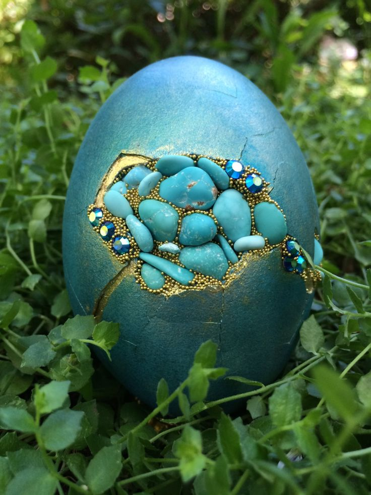 Turquoise goose egg set with American Turquoise and rhinestones by CrystalheartCreation on Etsy