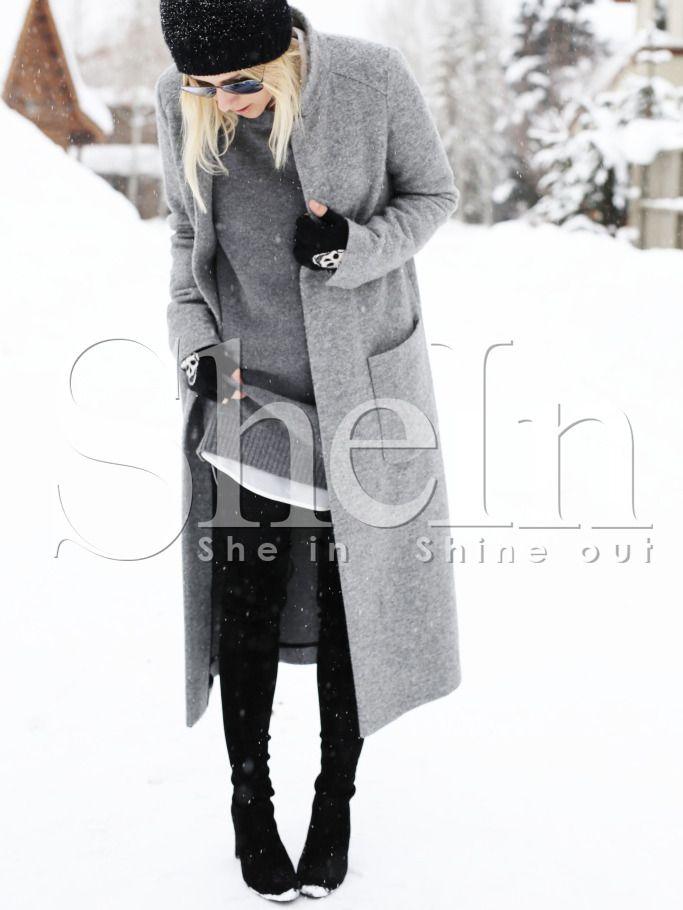 Shop Grey Long Sleeve Pockets Coat online. SheIn offers Grey Long Sleeve Pockets Coat & more to fit your fashionable needs.