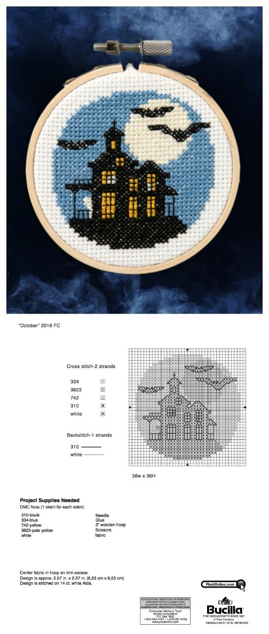Bucilla: Free Halloween Cross Stitch Pattern! Get your spooky on with this free pattern download, such a fun needlecraft pattern to DIY or take on the go.