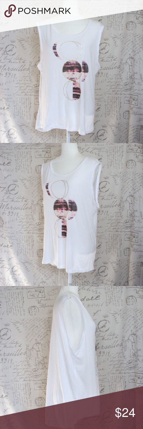 """Lucy Athletic White Graphic Sleeveless Tank Top XL Lucy Athletic Women's White Graphic Sleeveless Tank Shirt  size XL can fit Large due to shrinkage  Measurements taken with garment flat on table. Armpit to armpit: 22"""" Length: 26.5"""" front 28.5"""" back Lucy Tops Tank Tops"""