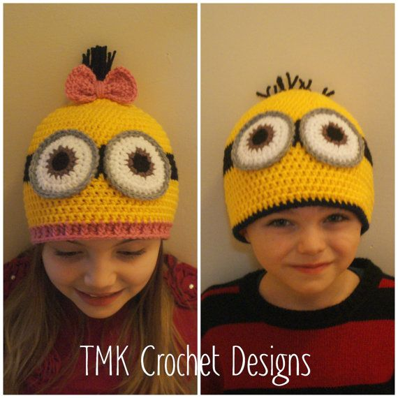 Crochet Minion Hat Pattern. 6-12 months, 12-24 months, 3-5 years, child, and adult.